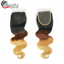 Beautiful Queen Brazilian Human Hair Body Wave 4*4 Lace Closure Color 1b/4/27 Remy Hair Extensions 10-20 Inch Free Shipping(China)