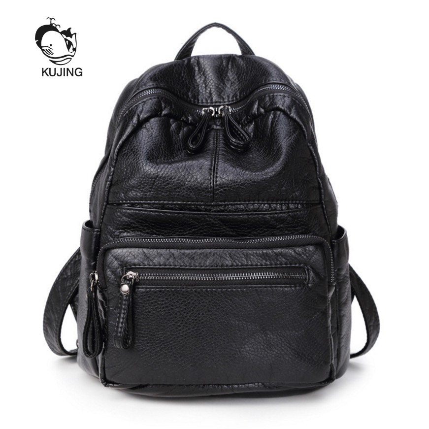 KUJING Fashion Backpacks High Quality Black PU Women Backpack Youth Student Backpack Cheap Luxury Women Travel