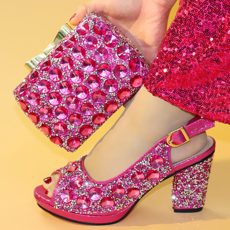 Sb8326 Grand Chaussures Shinning Assorti Avec Strass Pour Ensemble Chaud Partie Africain Fushia Rose Ebi Et 4 Aso Sac rqqzta
