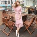 Розовый И Черный Женщины Свитера И Юбки 2 Шт. Набор Мода Бисером Топы + сплайсинга Юбки Трикотажные Устанавливает женщин из Двух частей Набор