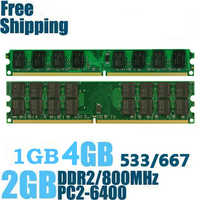 High Quality Memory Ram PC2-6400 DDR2 800Mhz 4GB 2GB 1GB for Desktop Memoria PC2-5300 DDR2 667MHz Compatible with DDR 2 533Mhz