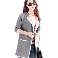 New Autumn Women Long Sweater 2016 Fashion Cardigan Full Sleeve Slim Knitted Cardigan Plus Size A220