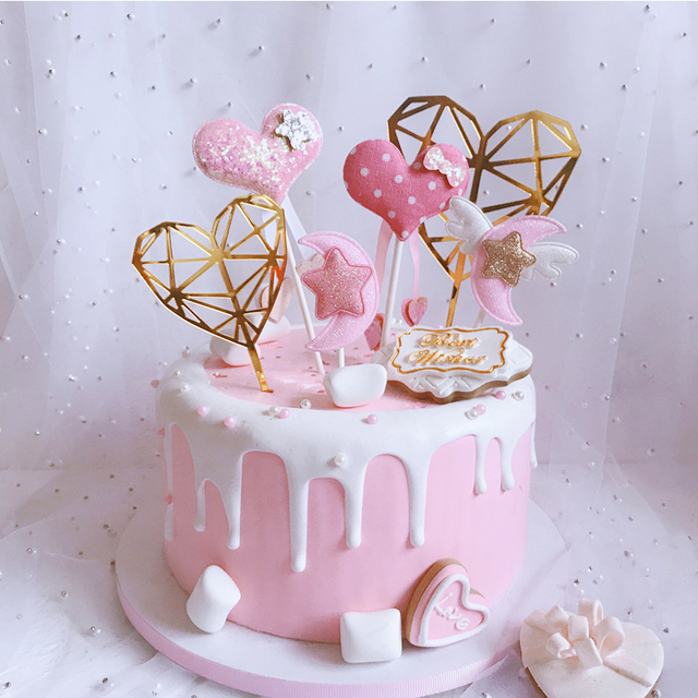 Star Moon Cake Toppers Heart Happy Birthday Topper Glitter Gold Flag For Girl Baby