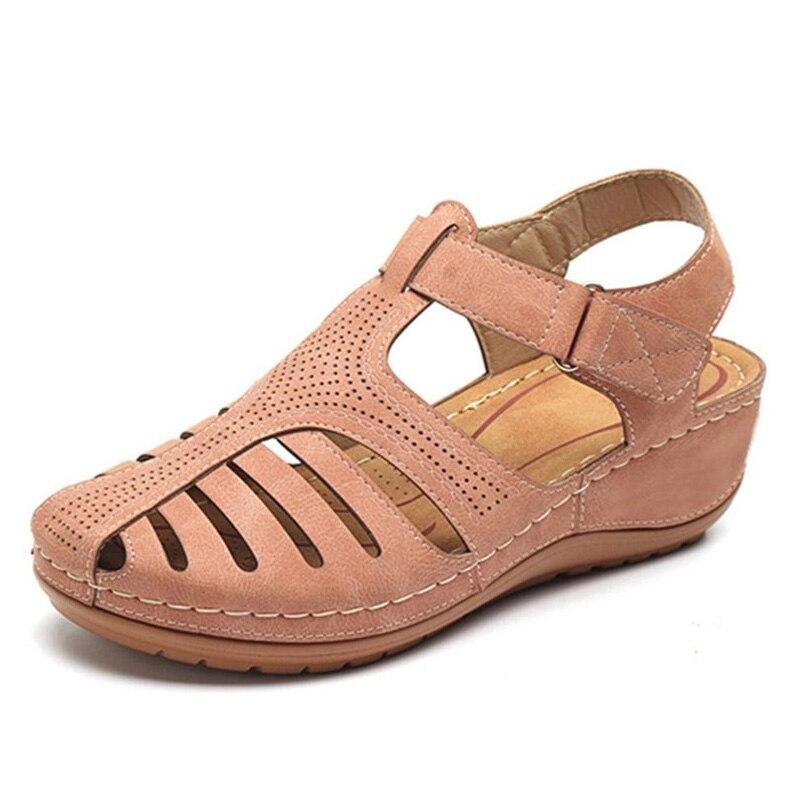 Image 5 - BEYARNESummer Women Ladies Girls Comfortable leisure Ankle HollowRoundToe Sandals Soft Sole Shoes sandalias de verano para mujerMiddle Heels   -
