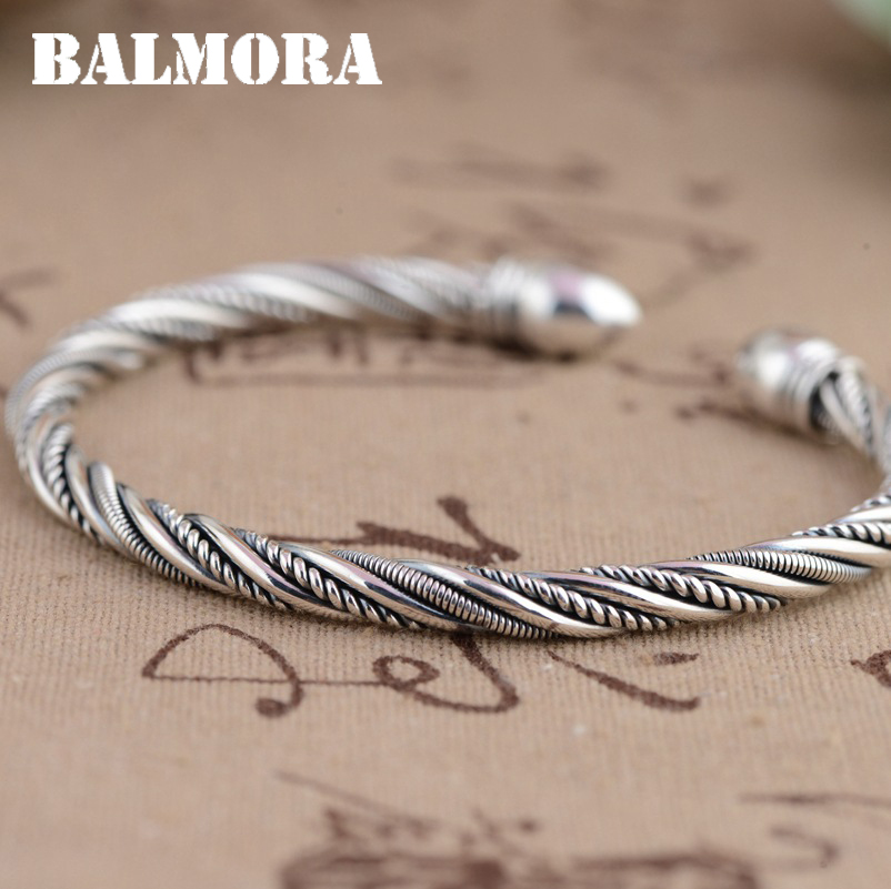 BALMORA 990 Pure Silver Open Bangles for Women Men Gift Vintage Thai Silver Fashion Jewelry About