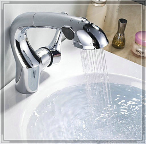 Bathroom Faucets With Pull Out Sprayer chrome finish pull out sprayer bathroom sink faucet one hole basin