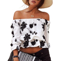 2017 New fashion Spring and summer style print chiffon Blouses Chest wrapped Sexy Strapless Loose Top