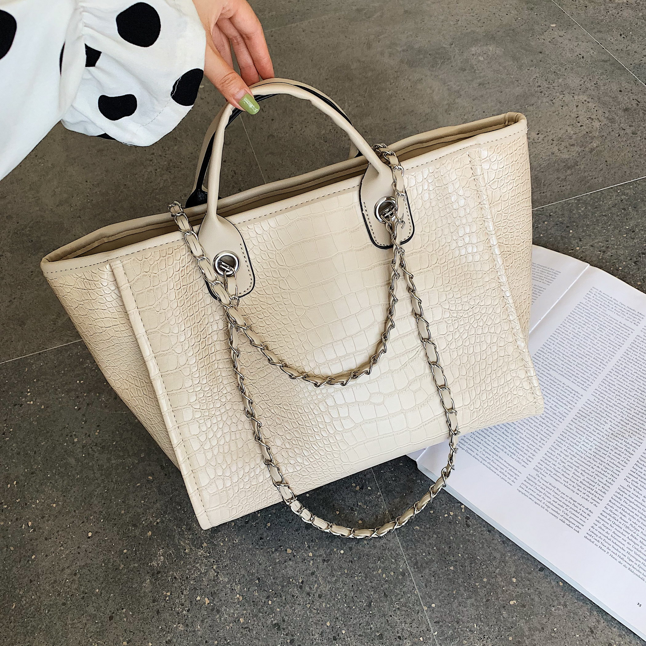 2019 New fashion Leather Bag for Women Shoulder Bag Leather Handbags Crocodile Pattern Women s Large