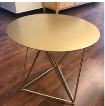 Nordic contemporary iron art tea table side table gold small horn a few small family sitting room circular sofa edge .