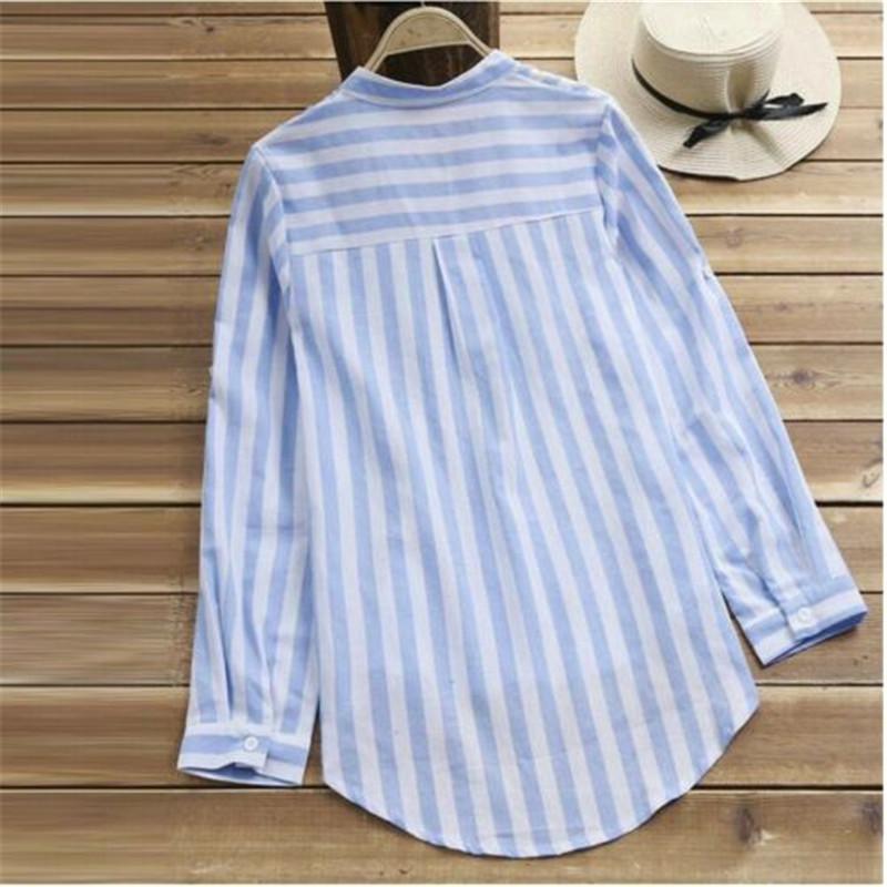 Summer Womens Striped Baggy Blouse Ladies Casual Loose Tunic Tops Size S-XL