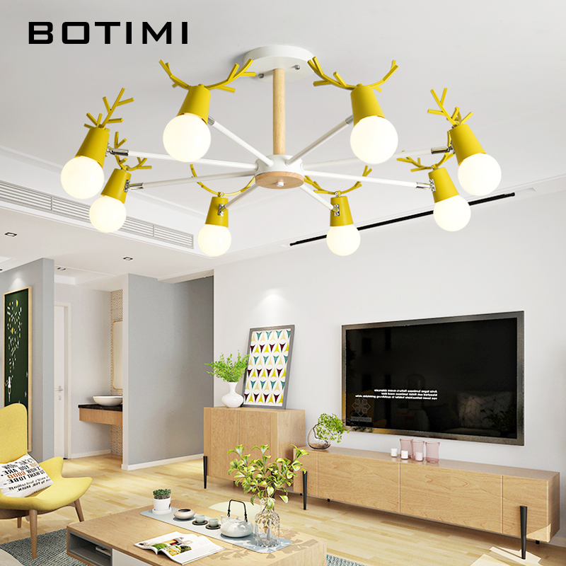 BOTIMI LED Lustres pour salon blanc Lustre éclairage gris Lustre rose chambre cuisine lampes suspendues Lustres noirs