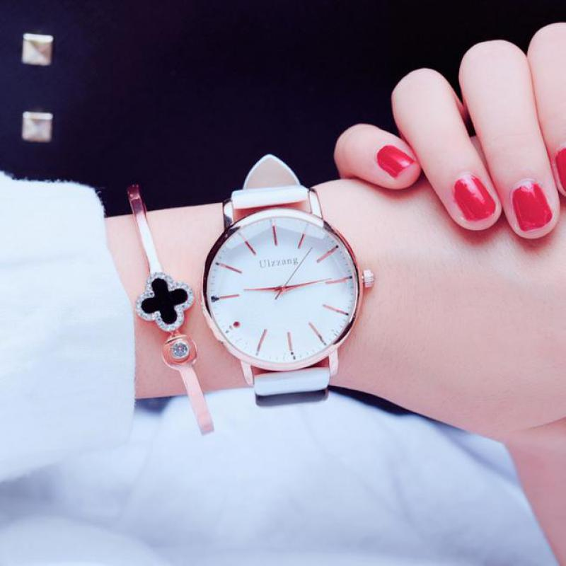 Fashion Ulzzang Brand Genuine Leather Quartz Analog Wrist Watch Clock for Women Girls Black White Pink 2017 pink color wood watch women simple fashion analog casual bamboo wrist watch with genuine leather clock reloj de madera