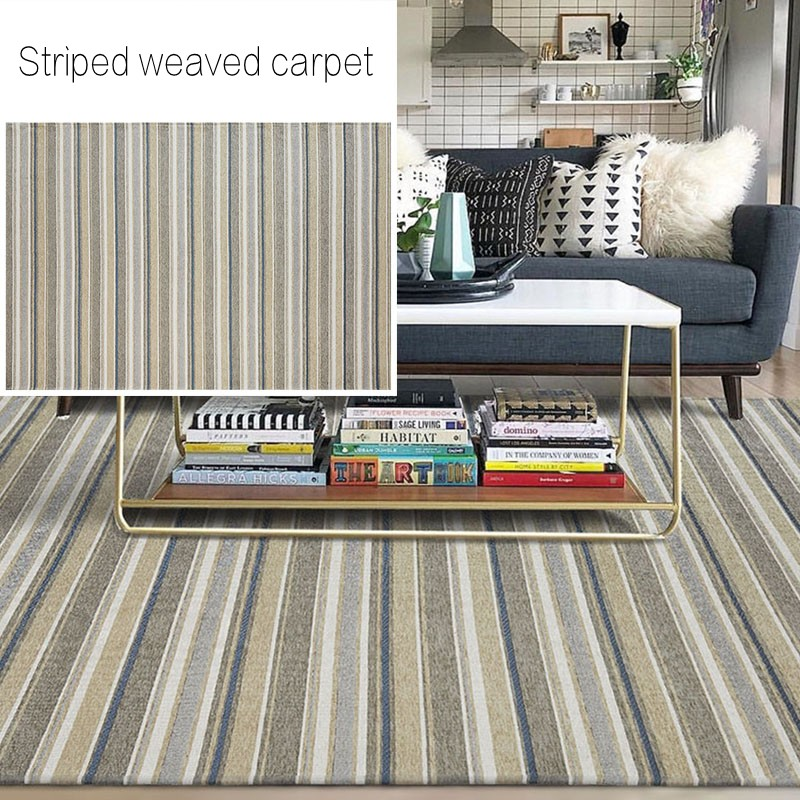 Tapis de salon rayé vert de style Simple, tapis de chevet géométrique de grande taille, tapis de sol décoratif nordique