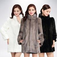 Высококачественная натуральная норковая шуба женская зимняя длинная норка пальто Меховая куртка