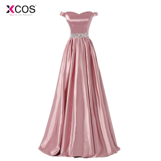 Elegant Pink Prom Dresses 2018 Off The Shoulder Pleats Beaded Waist Detail Floor Length Long Formal Party Evening Gown