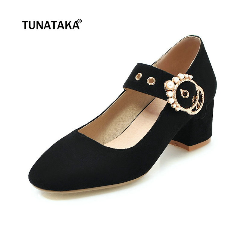 599ae94a6f5f3 Women Faux Suede Mary Jane Thick Heel Pumps Fashion Pointed Toe Shoes Black  Apricot Beige-in Women s Pumps from Shoes on Aliexpress.com