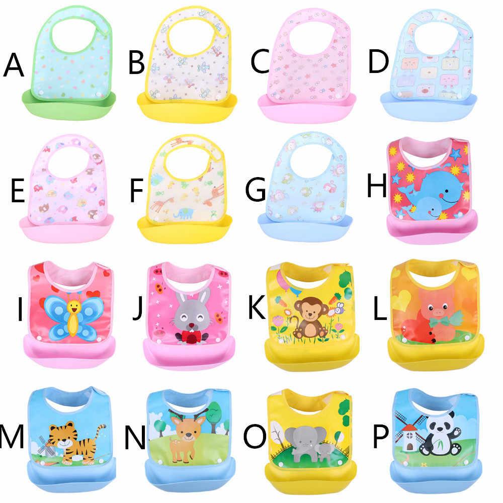 Bebé recién nacido baberos impermeables Delantales para bebé babero infantil para saliva toallas lindo bebé Babero con caricaturas bebé slabbetjes de plástico EVA baberos bebe
