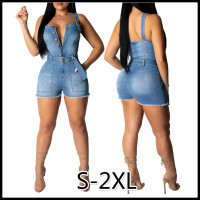 Women's Fashion Summer New Sexy Deep V Straps Jumpsuits Shorts Tassel Blue Denim Jumpsuits bodysuits for Women with Belt S 2XL