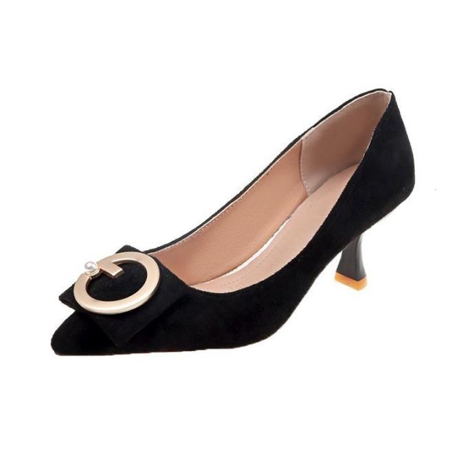 Peu Chaussures De Version Hauts 2018 Talons Coréenne Profonde Nouveau Bouche Stiletto rouge Femelle noir Automne Décoratif Pointu Métal Beige qzqPwZISp