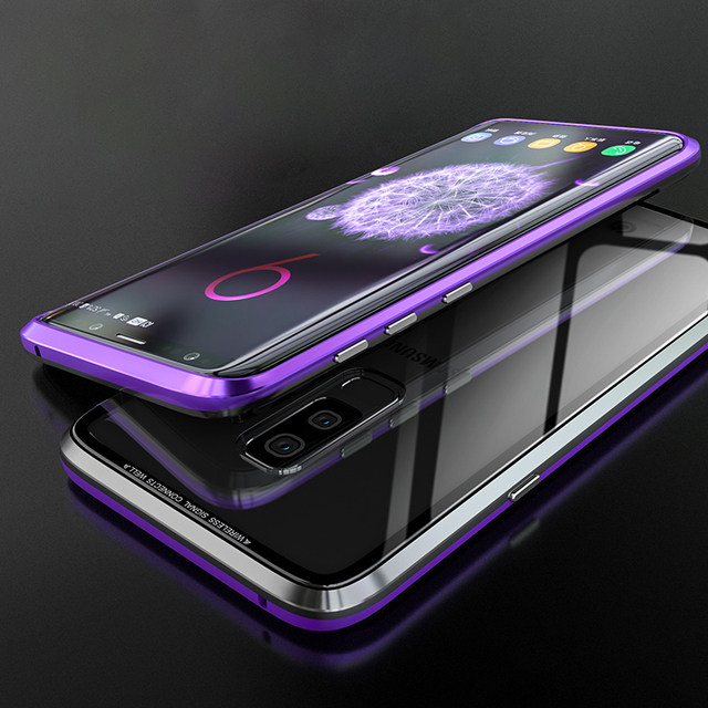 Advaka Luxury Anti-knock Metal Frame & Tempered Glass Sheet Phone Case For Samsung Galaxy S8 S8+ S9 S9+ S10 S10+ Note8 Note9