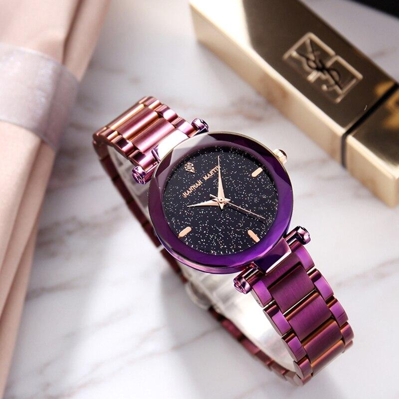 Or Rose, couleur pourpre femmes montres de luxe solide en acier inoxydable bande ciel étoilé femme montre-bracelet à Quartz