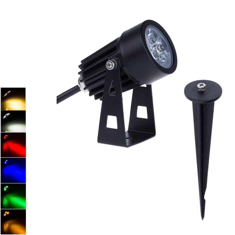 LED Landscape Lights 12V 3W 220V Waterproof Garden Pathway Lamp Trees Flags Outdoor Spotlights With Spike