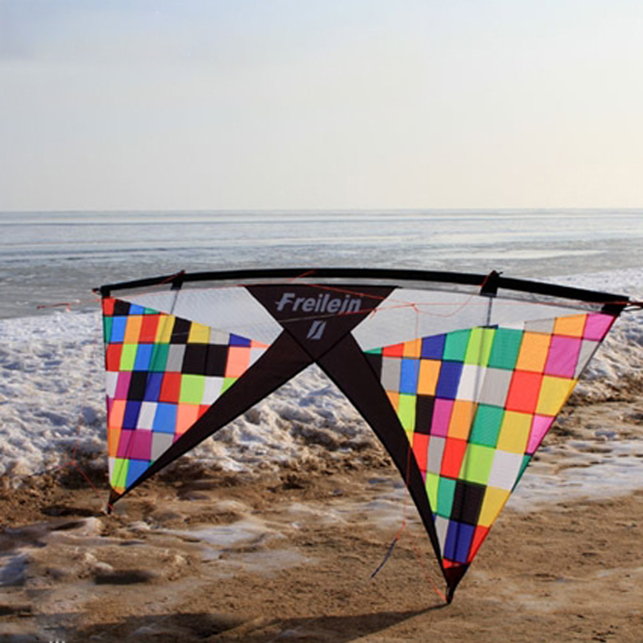 Rainbow Mosaic Vented Quad Line Stunt Kite Flying Professional 7.5ft Adults Outdoor Toy Sport Power Kite 4 Lines Beach Flying 4 colors quad line stunt kite vented design power beach kite with flying kite line 2pcs control handles