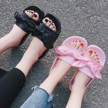 Lazo de seda de Diapositivas Verano de Las Mujeres Zapatos de Playa Mujer Sin Piel Rihanna Bohemia Chanclas Señoras Sandalias Zapatillas Planas de Los Talones