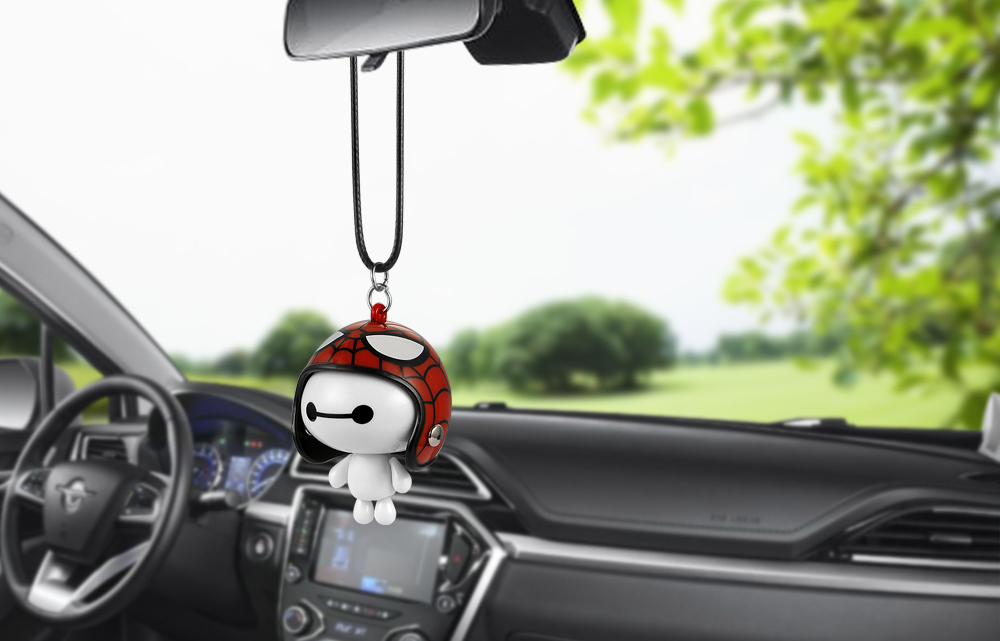 HTB1Hed2bnlYBeNjSszcq6zwhFXaM Car Pendant Cute Helmet Baymax Robot Doll Hanging Ornaments Automobiles Rearview Mirror Suspension Decoration Accessories Gifts