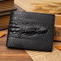 THINKTHENDO Fake Crocodile Gator Men S Leather Wallet Pockets ID Credit Card Clutch Bifold