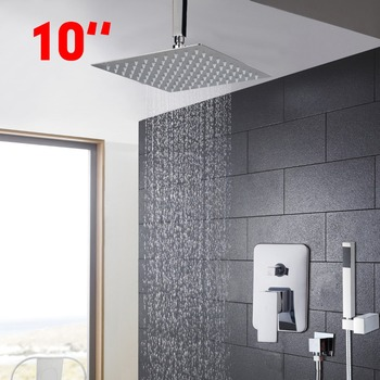 10 Inch Modern Universal Bathroom Rainfall Shower Head Polished Wall Mouned Swivel Panel Mixer Tap Faucets Set Chrome Finished