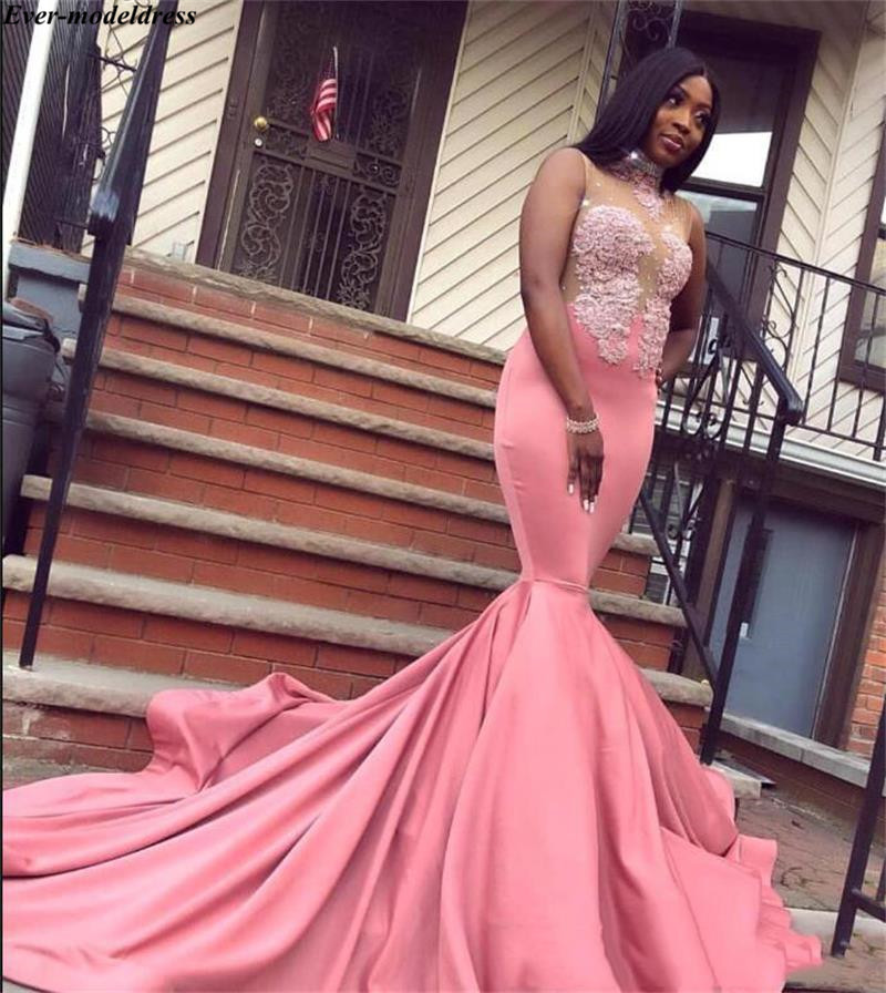 Pink High Neck Mermaid Reflective   Prom     Dresses   Long 2019 African Appliques Sequined Party Gowns With Sweep Train gala jurken