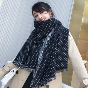 Image 3 - Winter Scarves Women Fashion Black White Polka Dot Pashmina Fringed Brim Shawl Oversized Tippet Ladys Fluffy Cashmere Bufandas