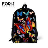 FORUDESIGNS Pretty Butterfly Backpack For Teen Girls Highschool Elementary Student Children Bagpack Big Kids Rucksack Polyester