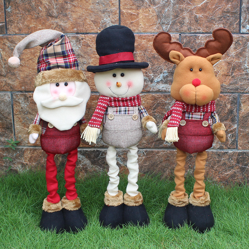 62cmScalable Christmas Dolls Santa Claus/Snowman/Deer Stuffed Plush Toys Christmas Decorations for Home Ornaments Xmas Kids Gift neje st0006 4 christmas stretch santa claus gift snowman doll red white
