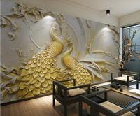 custom photo wallpaper 3D embossed golden peacock background wall painting relief wallpapers
