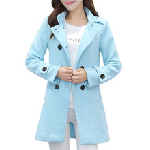 2017 New Winter Wool Coat Thickend Double Breasted Slim Long Parkas Woolen Cocoon Overcoat Blue Pink Elegant Casaco Feminino