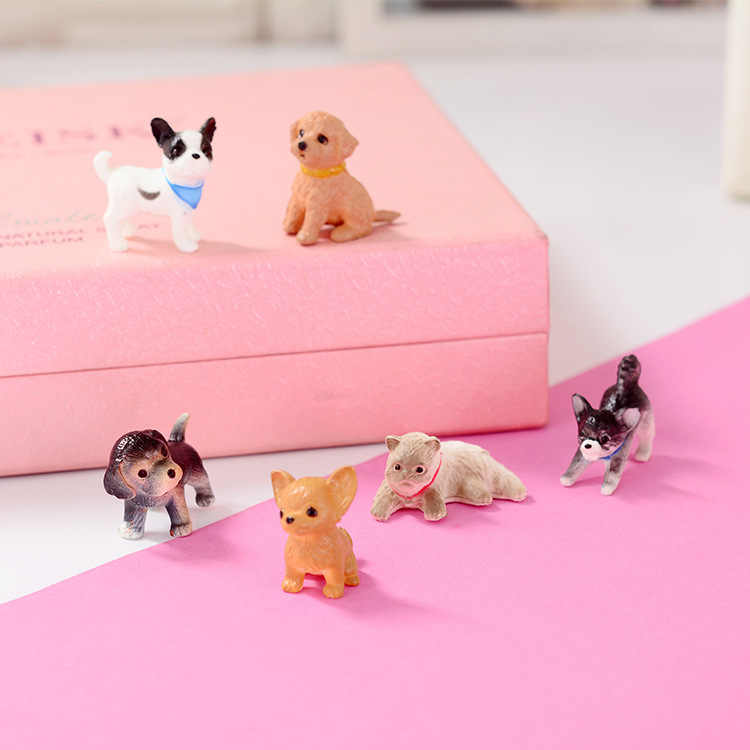 Original bulks 6pcs Cute kawaii puppy corgi bulldog Chihuahua figurine Animal Model home decoration For kids collectible Toy