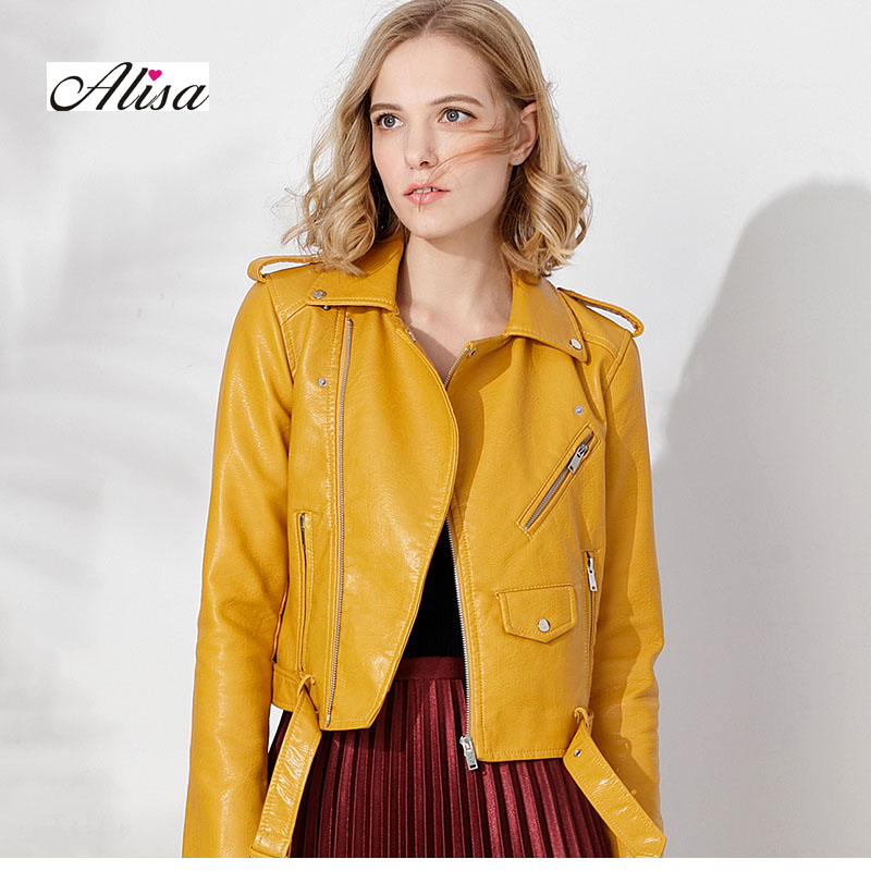 New Ladies Faux   Leather   Jackets Slim Zipper Punk Pu Coat Spring Autumn Women Black Pink   Leather   Coat Female Motorcycle Jacket
