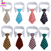 50PCS Dog Grooming Colorful Striped Bow Tie Animal Striped Bowtie Collar Pet Adjustable Neck Tie White Dog Necktie Party Wedding