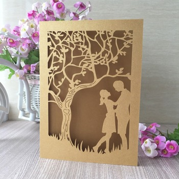 100pcs/lot 250g pearl paper kissing birds and flowers laser cut invitations cards for wedding/greeting/party/christmas party