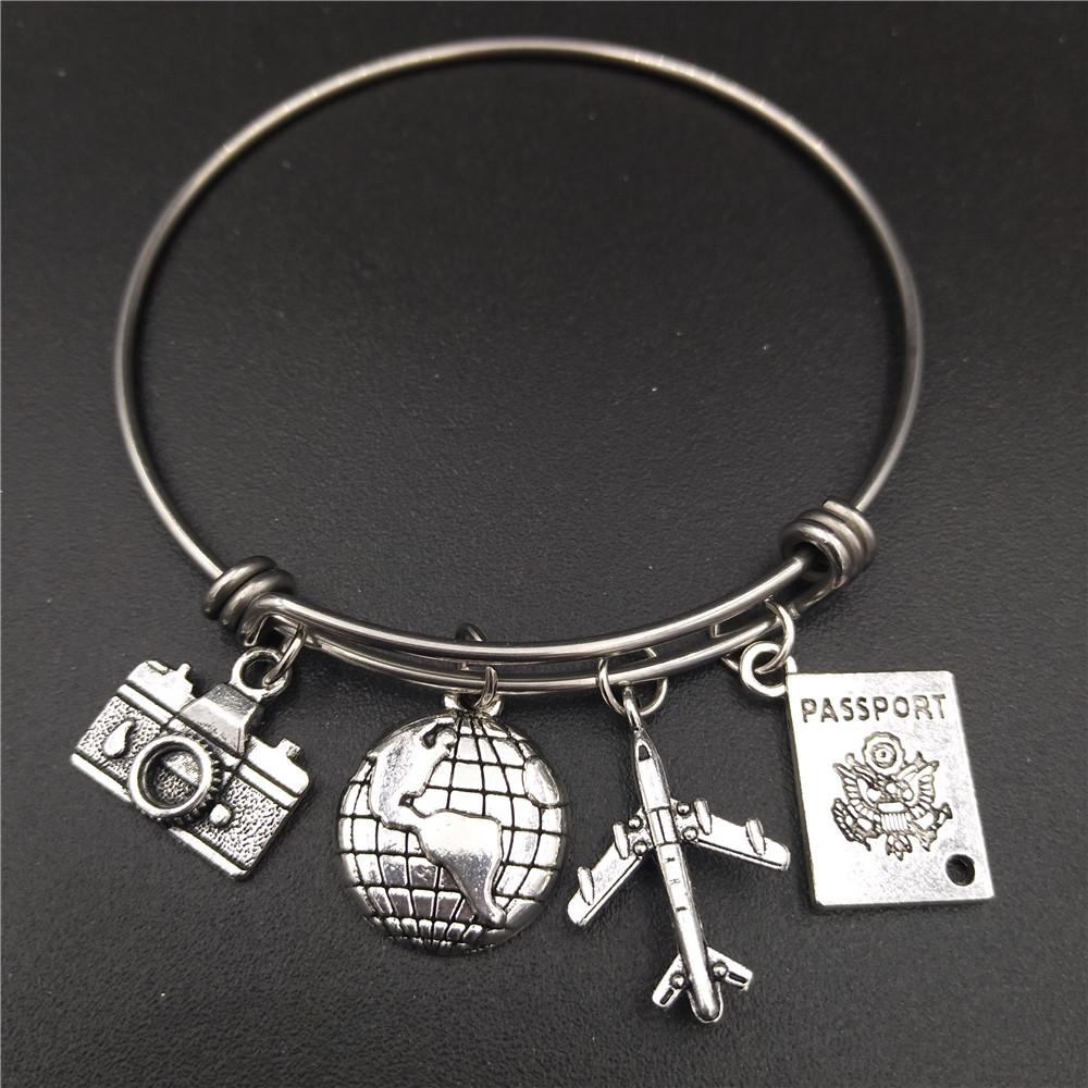 2.5 inch Stainless Steel Expandable Wire Bangle Love Travel Bracelet Camera Globe Plane Passport Charms Wholesale Bulk Jewelry