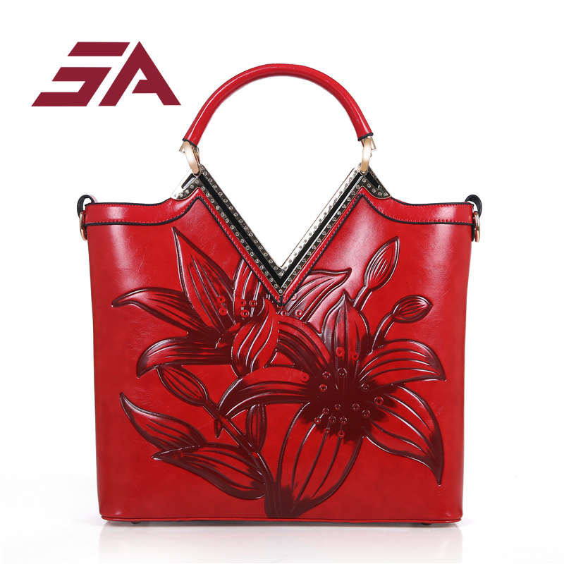 SA 2018 new High Quality Chinese Style Embossed PU Leather Women Handbag female Bag Vintage Shoulder Bag Ladies Bag sac a main women handbag vintage shoulder bag flowers pattern high quality female messenger bags chinese style crossbody sac a main