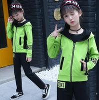 3 Pieces Set 2019 Spring Children's Clothing Sets Girls Tracksuit T shirt Jackets Pants Suit ensemble fille For 8 10 12 14 Years