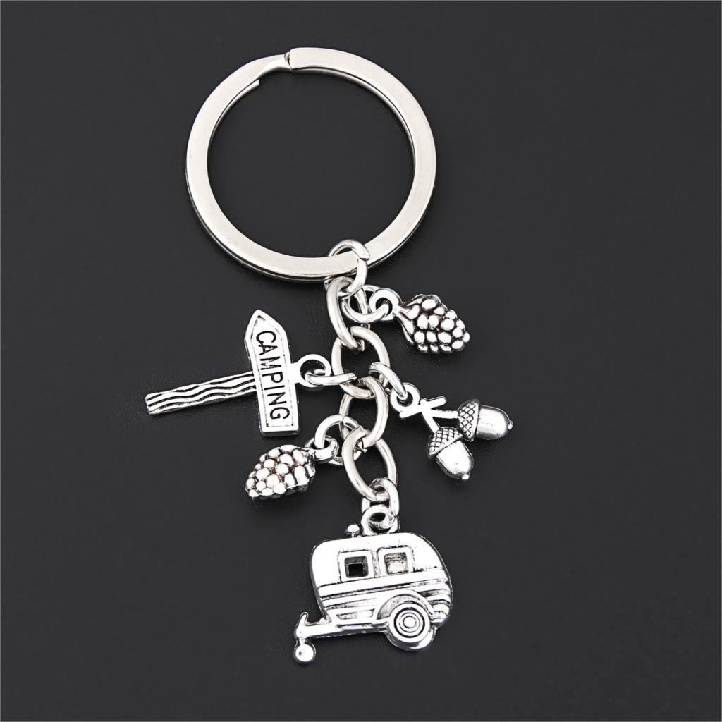 1Pc Helicopter Camping Guidepost Keychain Airplane Pine Cone Pendant Keyholder Adventure Theme Jewelry Wholesele E2687 image