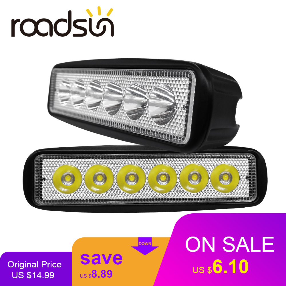 Roadsun 18W 6000K Led Car Work Light 12V Led Spot Lights Bar Off Road Flood Combo Lamp For Tractor Truck Trailer SUV Vehicle 1PC