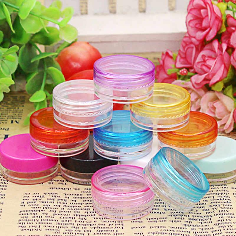 10 Pcs/set Plastik Kotak Kosmetik Kosong Jar Nail Art Kosmetik Wadah Penyimpanan Kawat Bulat Botol 5G Makeup Transparan Anak -Sal
