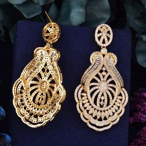 Image 5 - GODKI 65mm luxe populaire fleur feuille plein Mirco réglage cubique zircone Naija mariage boucle doreille bijoux de mode pour les femmes