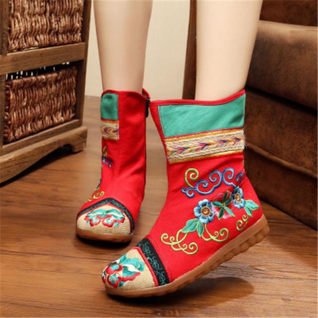 Caliente Botas de Algodón Plana Cremallera Viejo Beijing Zapatos de Plataforma Estilo Étnico Bordado del Paño Caliente Botas Individuales Otoño Invierno Botines