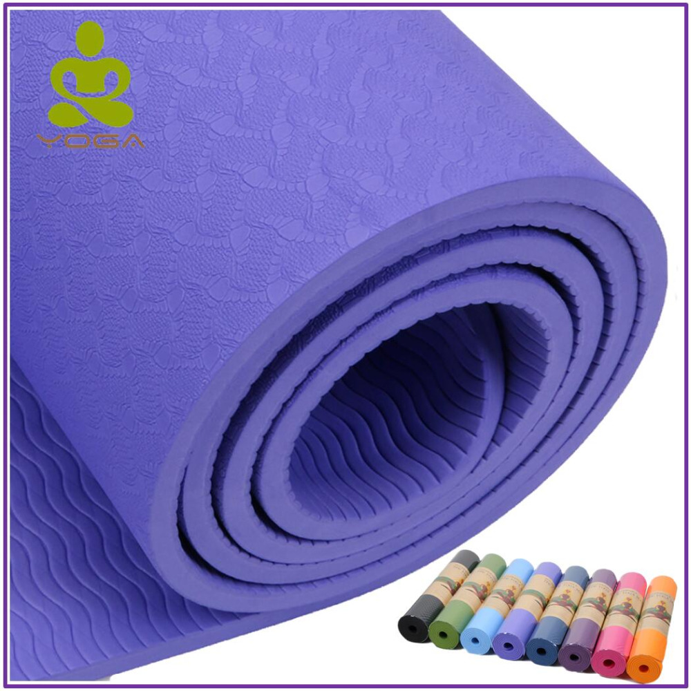 High Qulity No-slip Yoga Mat 6mm TPE Sport Yoga Mat For Fitness Pilates Gymnastics Colchonete Pad 183*61*0.6cm dature tpe yoga mat 6mm fitness mat for fitness yoga carpet gym mat with yoga bag gymnastics mats balance pad 183 61cm 6mm